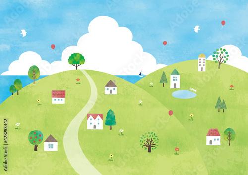 Obraz na płótnie 丘の村と海の景色水彩
