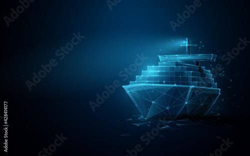 Billede på lærred Container cargo ship boat in the sea
