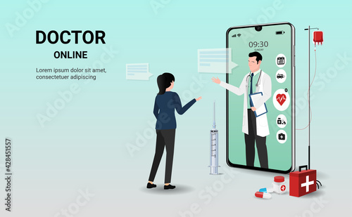 Slika na platnu Doctor online on smartphone app with doctor and  patient