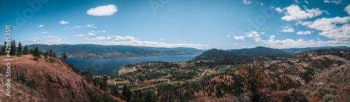Panoramic photo of beautiful mountains and Okanagan Lake
