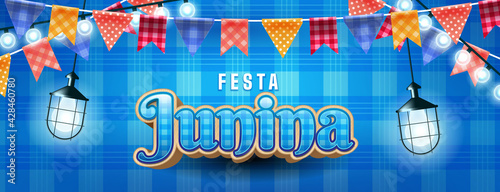 Festa junina illustration with party lights and paper lantern