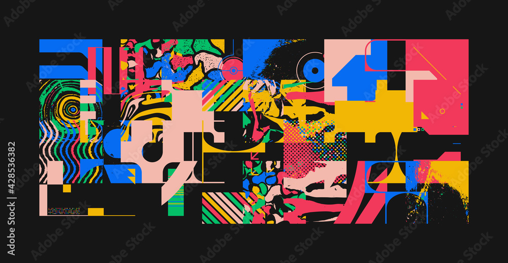 Unusual Abstract Geometric Artwork Composition - obrazy, fototapety, plakaty