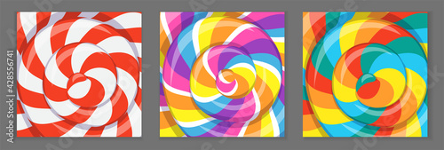 Photo Colorful lollipop background with rainbow stripes