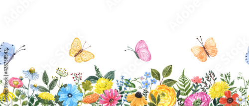 Spring or summer floral seamless border. Watercolor cute colorful wildflowers, forest plants, flying butterflies. Meadow frame on white background. Hand painted botanical illustration.
