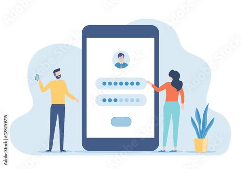 Obraz na płótnie Flat vector developer team setting for user login application with mobile phone