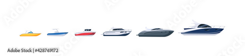 Fotografia Boat, steamboat and motorboat difference set on white