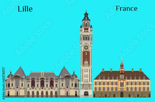 Vászonkép Lille, France Palais des Beaux-Arts de Lille Vieille Bourse de Lille Chambre de