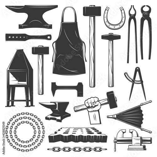 Canvas Print Blacksmith metalwork workshop tools vector icons
