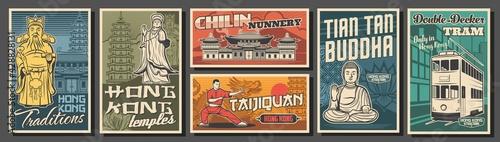 Obraz na plátně Hong Kong travel, landmarks, culture and religion vector retro posters