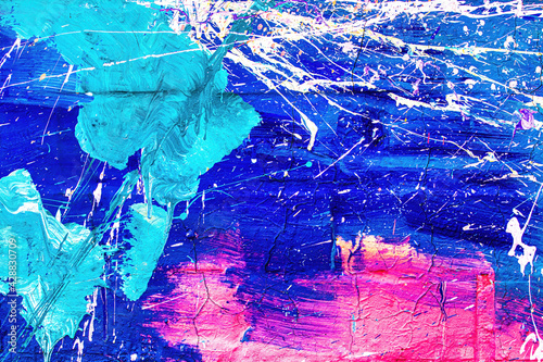 A fragment of colorful graffiti painted on a wall. Abstract urban background.