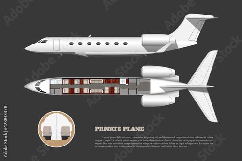 Obraz na plátně Private airplane interior