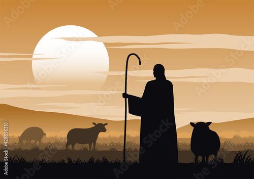 Jesus christ said about the shepherd Fototapeta