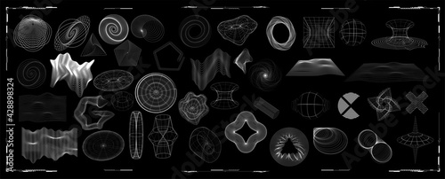 Fotografia, Obraz Abstract shapes collection is a trending mixture modern diverse design elements,  geometric shapes