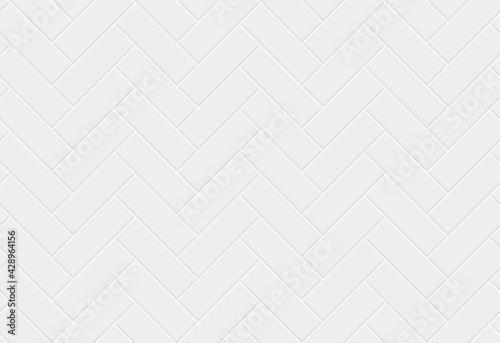 Fototapeta White ceramic tile herringbone seamless pattern