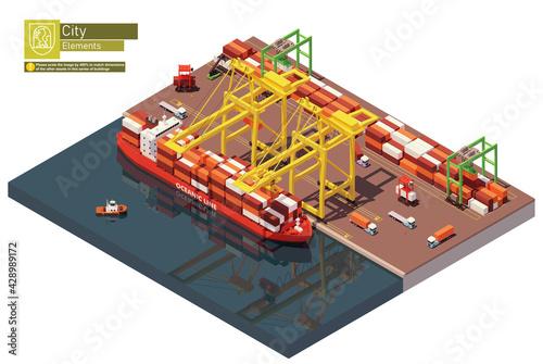 Obraz na plátně Vector isometric industrial cargo port