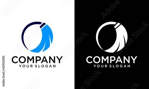 Obraz na płótnie Cleaning Service vector Logo design, Eco Friendly with shiny broom and circle Co
