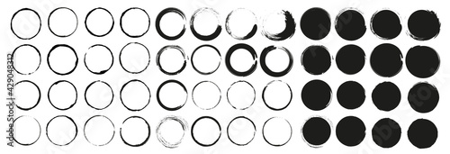 Fotografija Mega vector set of grunge circle brush vector illustration