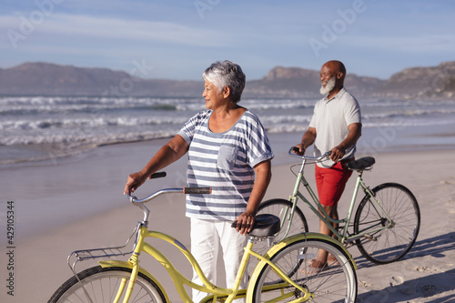 Senior african american couple with bicycles standing on the beach