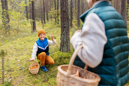 Obraz na plátně picking season, leisure and people concept - happy smiling grandmother and grand