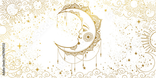 Stampa su Tela White background with a gold crescent moon with a face