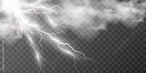 Fotografia Vector image of realistic lightning