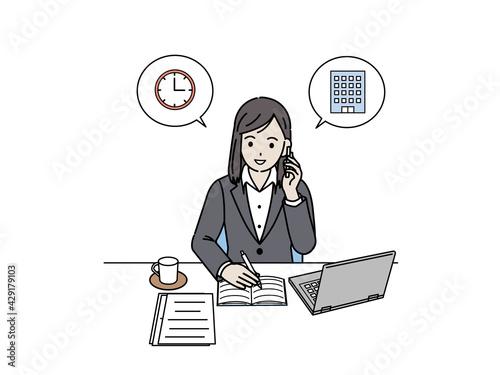 アポイントを取るスーツ姿の女性 約束 メモを取る 電話 イラスト素材 Fototapet