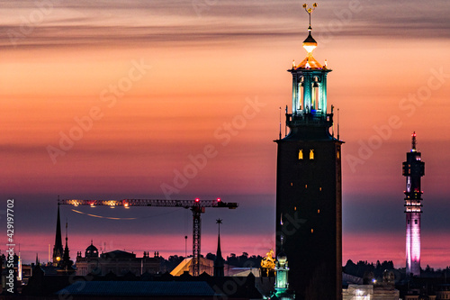 Fotomural Stockholm, Sweden The Stockholm skyline at dawn with the City Hall