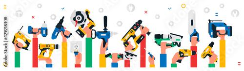 Fotografie, Obraz Construction tool in hands