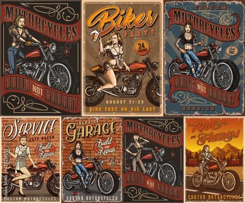 Fényképezés Motorcycles and pretty women vintage posters