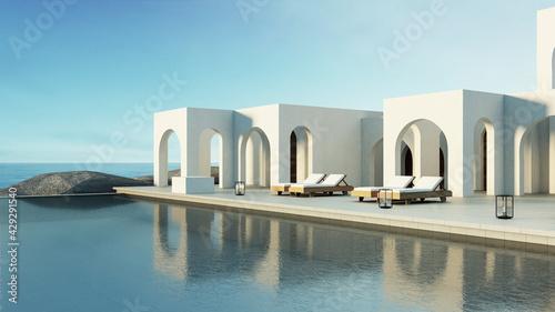 Slika na platnu Luxury beach and Pool villa Santorini style - 3d rendering