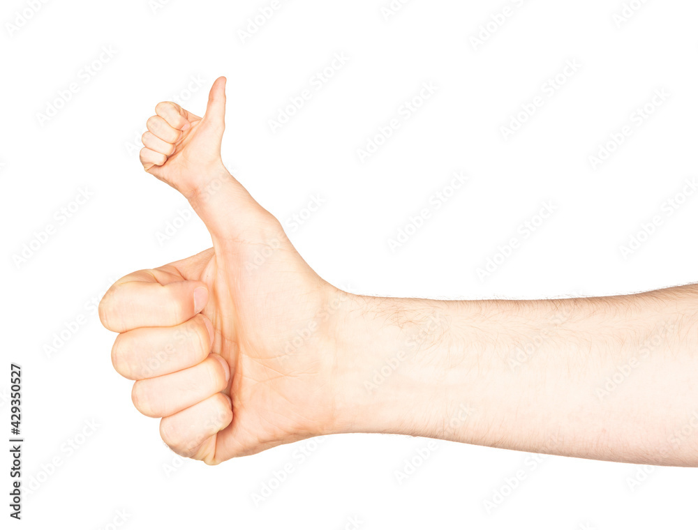 Weird thumb up of man`s hand isolated on white background with clipping path - obrazy, fototapety, plakaty