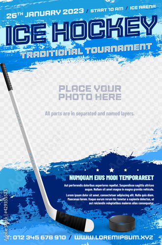 Canvas Print Ice hockey tournament poster template with stick and puck