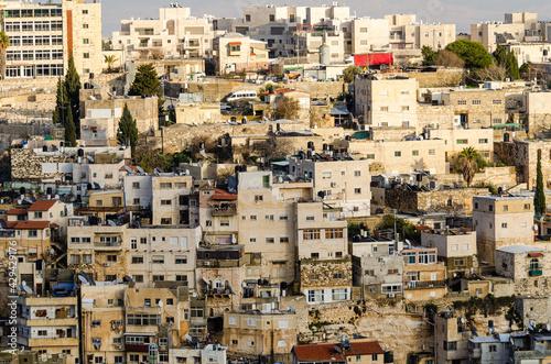 Arab neighborhood on the hillside in Jerusalem Fototapet