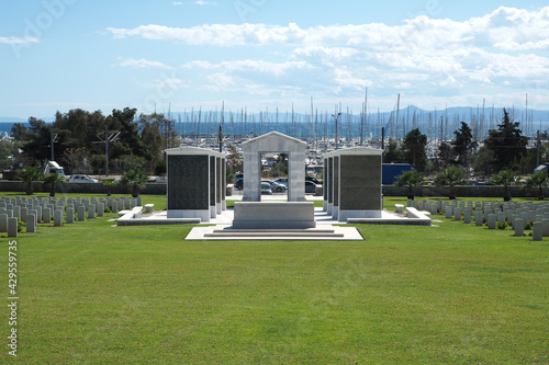 Fényképezés Μilitary park cemetery in Alimos district in remembrance of British troops that