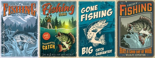 Canvas-taulu Fishing vintage posters collection