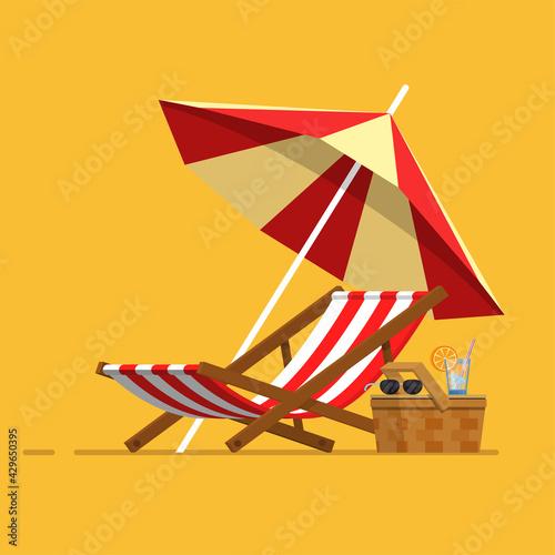 Fototapeta Vacation, travel, vacation. Beach umbrella, beach chair.