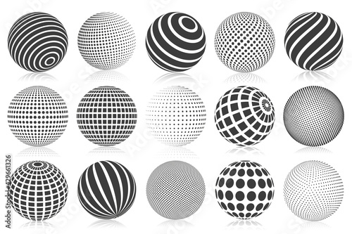 Dotted halftone 3d sphere. Striped, dotted and checkered 3d spheres, abstract sphere balls. Minimalistic halftone spherical isolated vector symbols set