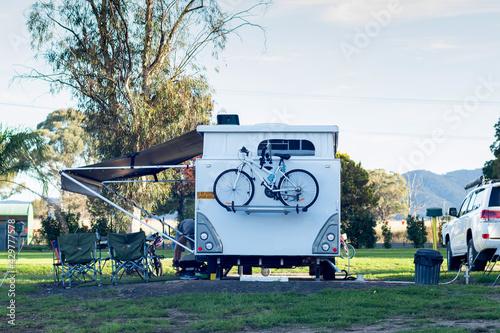 RV caravan camping at the caravan park Fototapet