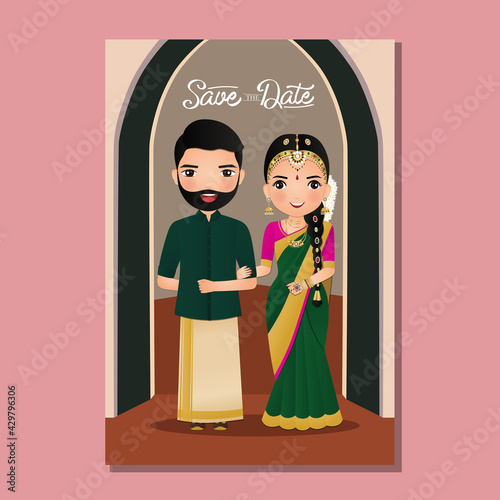 Leinwand Poster Wedding invitation card the bride and groom cute couple in traditional indian dress cartoon character
