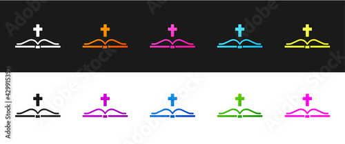 Canvas Print Set Holy bible book icon isolated on black and white background