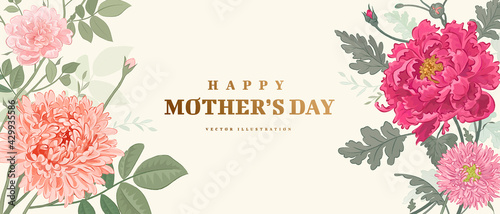Mother's day poster or banner with hand drawn flowers on light background. Vector illustration #429935586