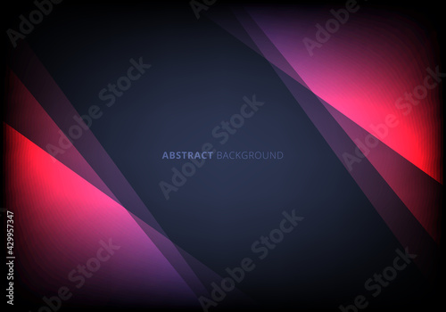 Fototapeta Abstract template pink triangle overlapping layered with lighting effect on dark