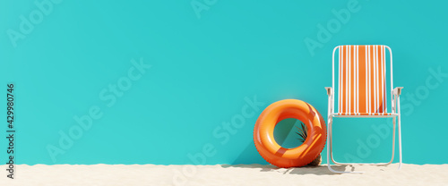 Obraz na plátně Summer beach concept, chair with ring floating and pineapple on blue background