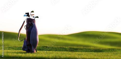 Golf clubs in bag at golf course resort