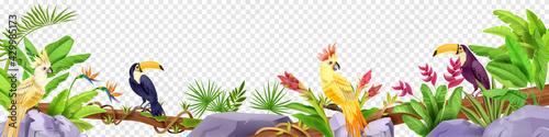 Obraz na plátně Jungle bird border, exotic tropical frame, toucan, parrot, stone, liana, banana leaves, paradise flowers, fern