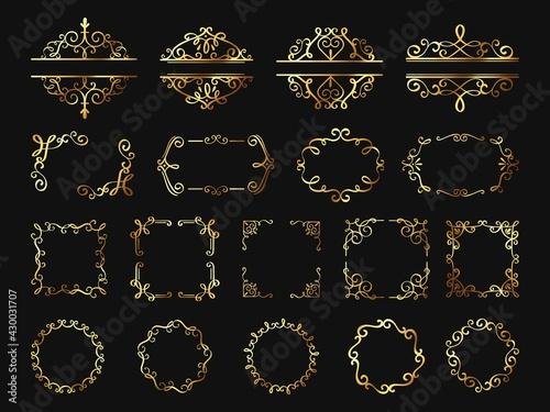Billede på lærred Retro golden frames