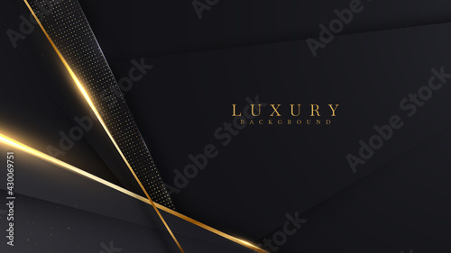Luxury abstract background with golden lines on dark. modern black backdrop concept 3d style. Illustration from vector about modern template creative design.