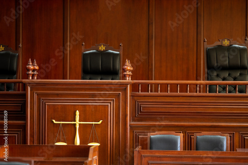 Canvas Print Table and chair in the courtroom of the judiciary..