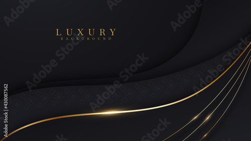 Curve golden line on black shade background. Luxury realistic concept. 3d paper cut style. Vector illustration for design.