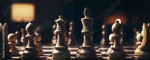 Canvas Print Chess pieces arranged on the chessboard